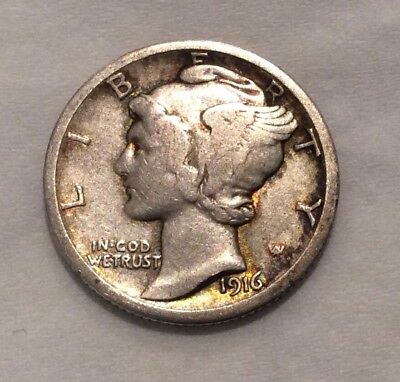 1916-D Mercury Dime - Super Key Date  F-VF #10278