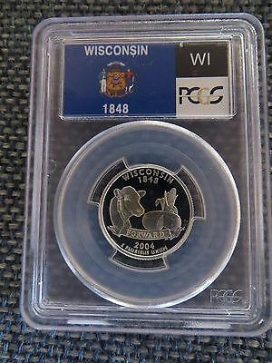 2004-S 25c Wisconsin SILVER State Flag Label Quarter Proof Coin PCGS PR70 DCAM