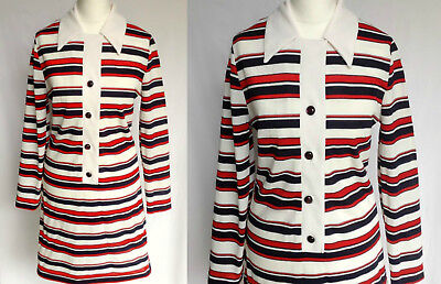 Vintage 60s Red White Blue Stripe Dagger Collar Mod Scooter Mini Dress M UK 12