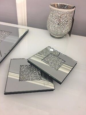 Set of 4 Sparkly Silver Crushed Diamond Glitz Crystal Mirrored Glass Coasters