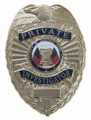 Gold Private Investigator Badge Two Panel Shield Style with Liberty Bell Seal
