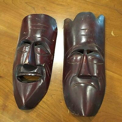 """A Pair Of Face Wooden Mask Made In Mexico Painted/Stained 14"""" H x 6"""" W x 2"""" D"""