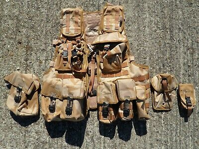 Genuine British Army Issue Desert Dpm Molle  Assault Vest + 11 Pouches Grade-1