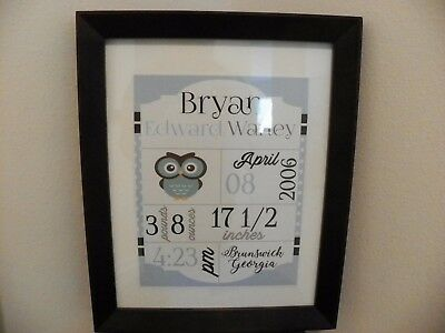 Custom Personalized Cardstock Baby Boy Announcement in Blue/Gray with Owl