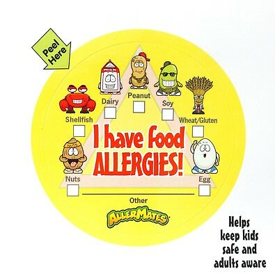Allermates - Allergy Stickers to Notify Teachers/Day Care/Places. NEW