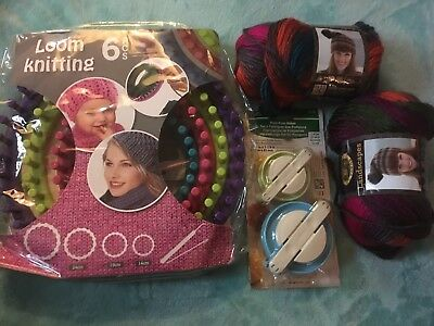 Knitting Loom In Round And Pompom Makers And Wool For Scarf Hat New