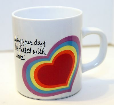 VINTAGE THE LOVE MUG HEART Easter 1983 Avon Coffee Cup Love Rainbow