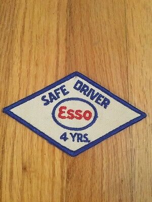 "Vintage Esso Oil Safe Driver 4 Years Patch 5"" X 3"""