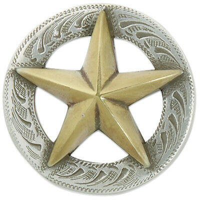 "Concho Silver & Gold Screwback 1"" 3D Texas Star 1137338"