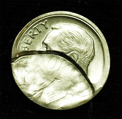 Roosevelt dime Broadstruck & brockage & Partial Collar Uncirculated Free S$H