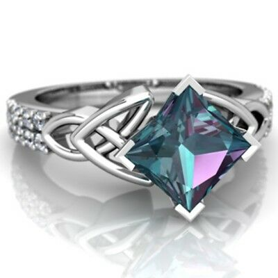 Women 925 Silver 2.8CT Blue Topaz Jewelry Wedding Engagement Party Ring Size6-10