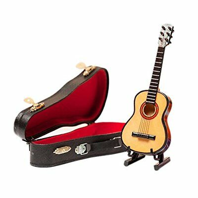 Wooden Maple Mini Ornaments Guitar Musical Instrument Miniature Dollhouse Model