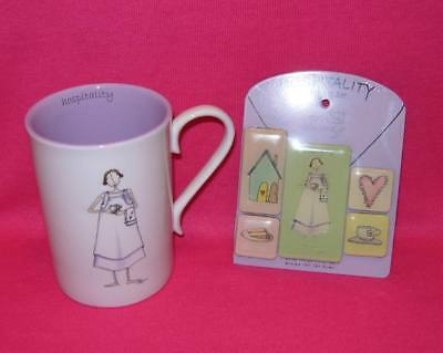Claire Stoner Most Sincerely HOSPITALITY Mug and Magnet Set Friendship Gift