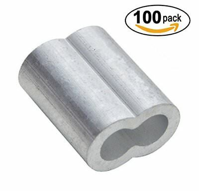 "PES 100 Packs Cable Crimps Wire Ferrules Rope 1/8"" Stainless Steel Cable"