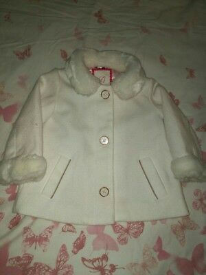 gorgeous baby girls Ted baker fur trim winter coat/ jacket 12-18months