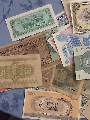 25 Pieces Of Various Foreign Paper Money