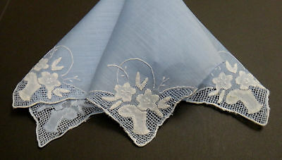 "Antique Madeira Flower Baskets Blue Linen Hankie - 4 Corners  ""AS IS""  Charming"