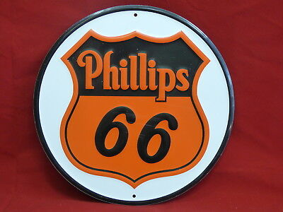 "Phillips 66 gas oil Round Collectible 12"" Metal Sign NEW Man Cave garage S29"
