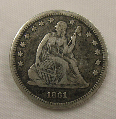 1861-P Seated Liberty Quarter, Circulated No Reserve & Free Shipping