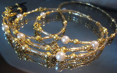 Spectacle Glasses eyewear Beaded chain Holder Gold Pearl (S405)