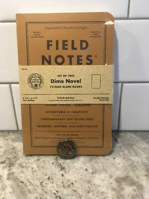 Field Notes Dime Novel Sealed 2-Pack Notebooks with SUBSCRIBER ONLY PIN Button