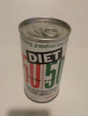 Vtg Rare Vers Diet 50/50 Canfields Early Lift Ring Straight Steel Soda Pop Can