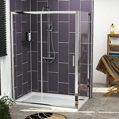 Sliding Door Shower Enclosure Chrome 6mm Glass Cubicle Side Panel Stone Tray