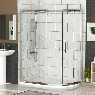 Right Entry 900 x 760mm Offset Quadrant Safety Glass Shower Enclosure+Stone Tray