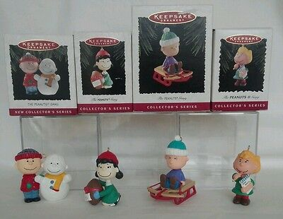 """Hallmark 4 Ornaments Complete Series """"The Peanuts Gang"""" Charlie Lucy Sally Linus"""
