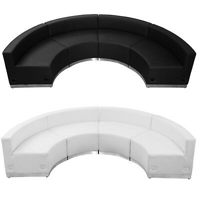 Black White Leather 4 Pc Sectional Reception Office Hotel Conf Living Rm Concave
