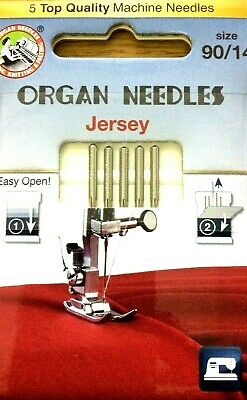 Organ 5 Top Quality Jersey Needle Size 90/14 Domestic Sewing Machine Needle