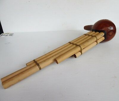 Vintage Asian OCT Bamboo Wooden Flute Hand Made 48 cm X 20 cm  X 10 CM