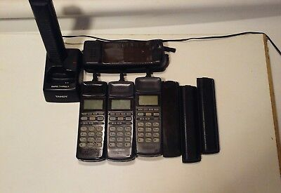 LOT of 3 Vintage TANDY CT-350/CT-351 Cell Phones W/Case, batteries, and charger.