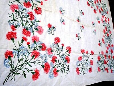 Vintage 40's Pink Carnation flower floral tablecloth