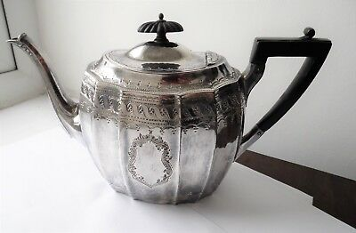 Antique Victorian Silver Plated Scroll Engraved Ebonise Teapot By Atkin Brothers