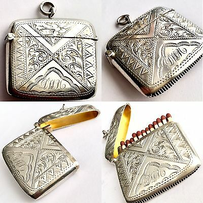 Antique (1903) Edwardian Solid Silver & Gold Plated Interior Match Vesta Case