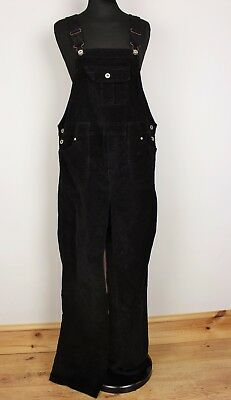 Vtg Ladies Black Velour/velvety Dungarees Festival Womens High Waisted 8 To 10