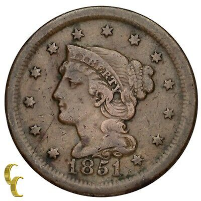 1851 Braided Hair Large Cent 1C Penny (Fine, F Condition)