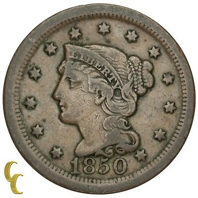 1850 Braided Hair Large Cent 1C Penny (Fine, F Condition)