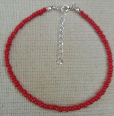 Red Handmade Seed Bead Ankle Bracelet, Chain, Anklet 3Mm Beads