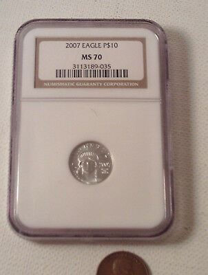 "Original 2007-vintage (NGC ~ MS70) ""2007 PLATINUM ~ $10 EAGLE"" (NGC 3113189-035)"