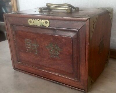 Antique Chinese Wood  Box For Mahjong  Tiles
