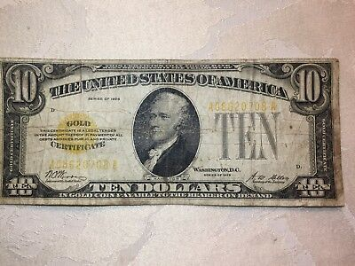 U.S.A. Ten Dollar $10 Gold Certificate series of 1928 (circulated) Yellow seal