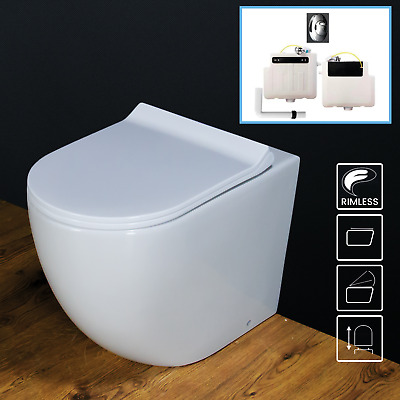 Toilet WC Back to Wall Concealed Cistern tank Soft Close Seat Cover Rimless