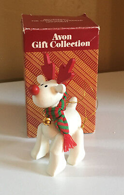 1987 Avon Gift Collection Christmas Holiday Ornament Belvedeer Wooden Reindeer