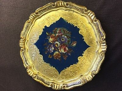 """Vintage Floral Firenze Italy Gilded Round Ornate Tray 9.25"""" Florentine Dish RARE"""