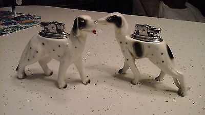 Set of 2 VTG MID CENTURY 1962 UNIQUE CERMAIC ''DALMATIAN'' DOG TABLE  LIGHTER