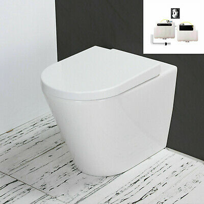 Toilet WC Bathroom Close Coupled Rimless Ceramic Compact Heavy Soft Seat T3Rn