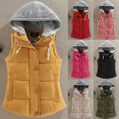 Womens girls Quilted Bubble vest Padded Puffer jacket warm Waistcoat Hoodie Coat