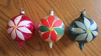 Vintage Teardrop Shaped Glass Christmas Ornaments with Painted Flowers